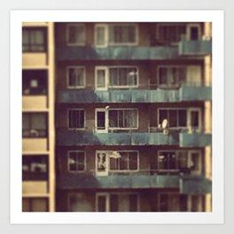 Blue balconies in MTL Art Print
