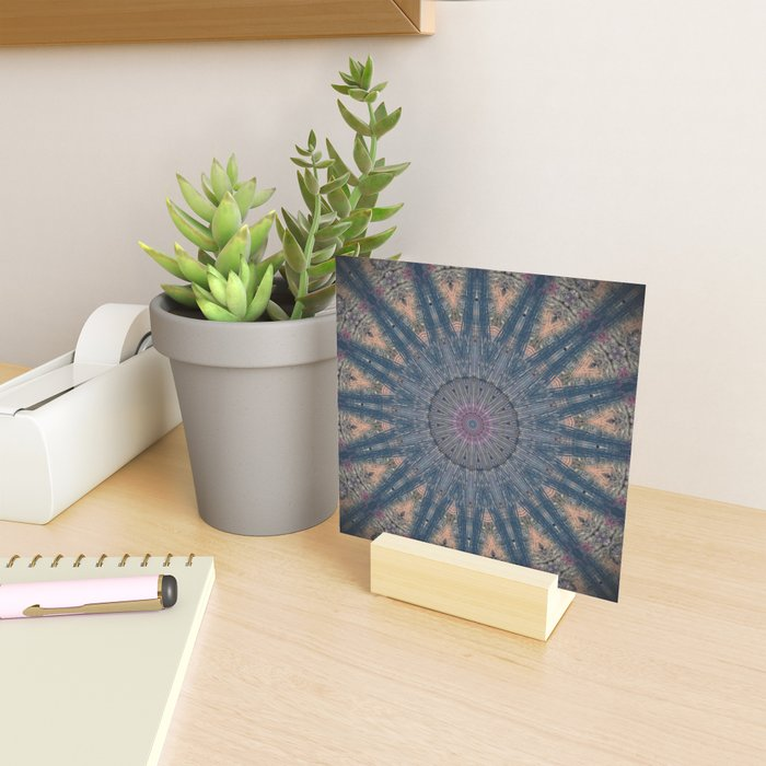 Delicate Navy Blue Bohemian Mandala Mini Art Print