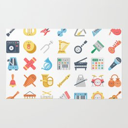 CUTE MUSICAL INSTRUMENTS PATTERN Rug
