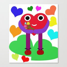 A nice heart brings you flowers. Canvas Print