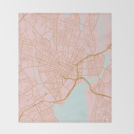 New Haven map, Connecticut Throw Blanket
