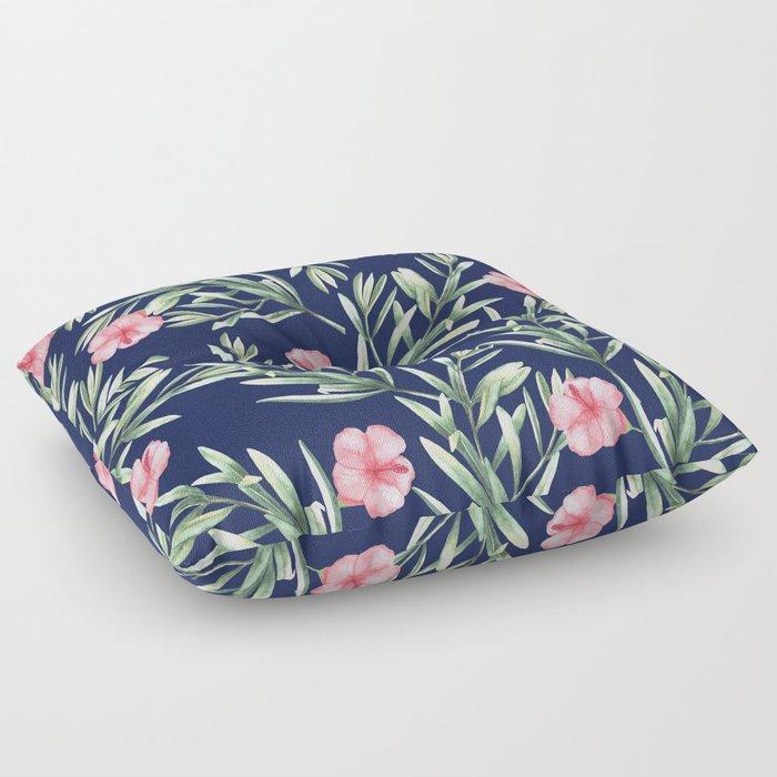Delicate Hibiscus Blue Floor Pillow