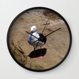 Me and My Shadow ~ Seagull at La Jolla, California Wall Clock