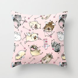 Love is in the Air - Cute Pug Cupids Throw Pillow