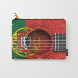 Old Vintage Acoustic Guitar with Portuguese Flag Carry-All Pouch