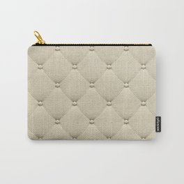 Cream Quilted Carry-All Pouch