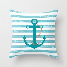 AFE Nautical Teal Ship Anchor Throw Pillow