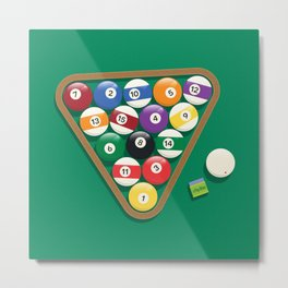 Billiard Balls Rack - Boules de billard Metal Print