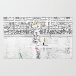 Toys boats in front of the Luxembourg Palace - Paris Rug