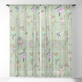 Animal Ballet Hipsters - Green Sheer Curtain