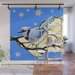 BLUE JAY DESIGN IN YELLOW-BLUE SNOWFLAKES ART Wall Mural