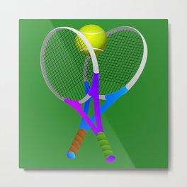 Tennis Rackets and Ball Metal Print
