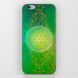 Flower Of Life Vintage gold green iPhone Skin