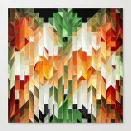 Geometric Tiled Orange Green Abstract Design Canvas Print