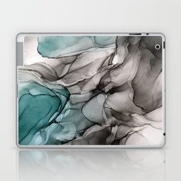 Smoky Grays and Green Abstract Flow Laptop & iPad Skin