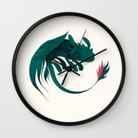 toothless Wall Clocks featuring toothless by yohan sacre