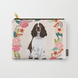 english springer spaniel dog floral wreath dog gifts pet portraits Carry-All Pouch