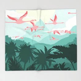 Flamingos flying through the Tropics Throw Blanket