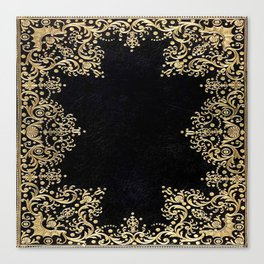 Black and Gold Filigree Canvas Print