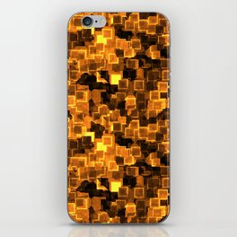Golden Cyber Glow Neon Squares Pattern iPhone Skin