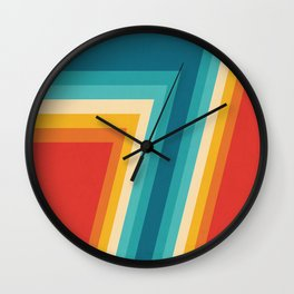 Colorful Retro Stripes  - 70s, 80s Abstract Design Wall Clock