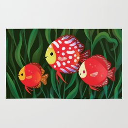 Red discus Rug