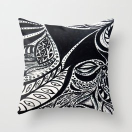 Gaia's Garden in Black & White 2 Throw Pillow