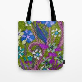 Starry Floral Felted Wool, Moss Green and Violet Tote Bag