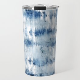 Modern hand painted dark blue tie dye batik watercolor Travel Mug