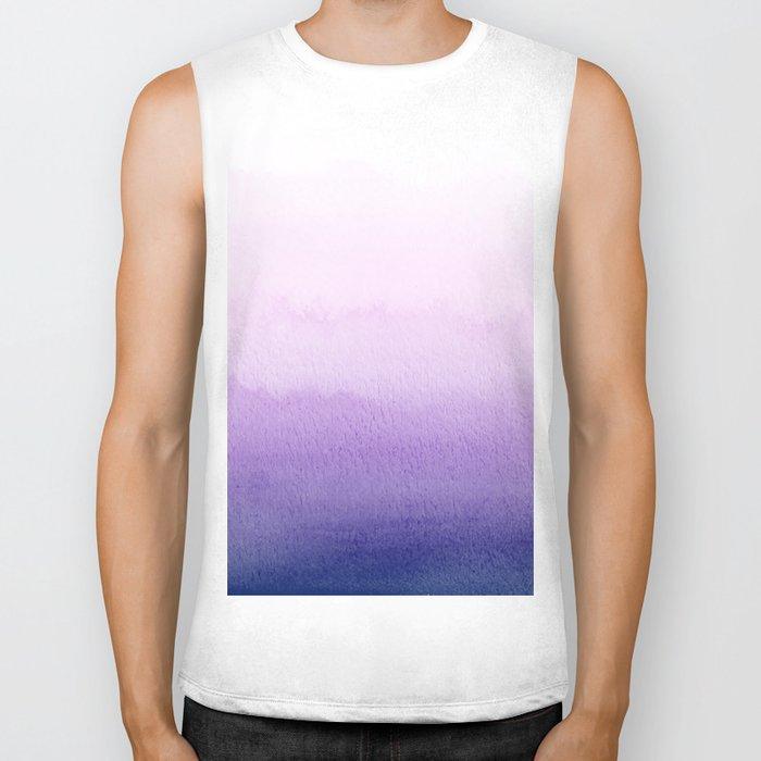 Purple Watercolor Design Biker Tank