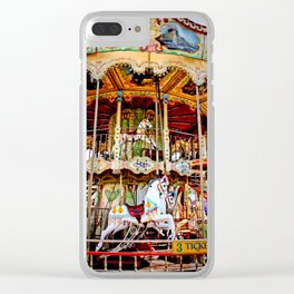 Double Decker Carnival Carousel Horse Clear iPhone Case