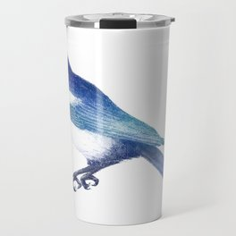 Magpie (Pica pica) - blue and turquoise Travel Mug