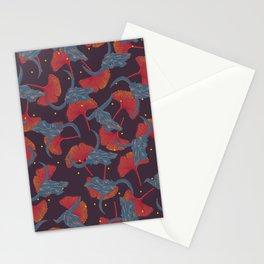 Ginkgo & Skulls (blue and orange version) Stationery Cards