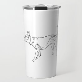 Minimalist line art drawing of Year of the Dog Travel Mug