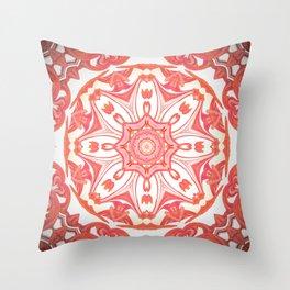 Romantic Peach Mandala Design Throw Pillow