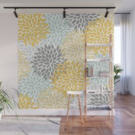 Floral Pattern, Yellow, Pale, Aqua, Blue and Gray Wall Mural