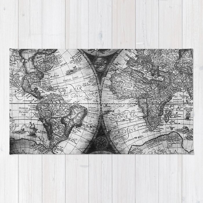 World map antique vintage black and white rug by naturemagick society6 gumiabroncs Images