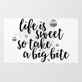 TEXT ART Life is sweet so take a big bite Rug