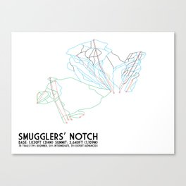 Smugglers' Notch, VT - Minimalist Trail Art Canvas Print