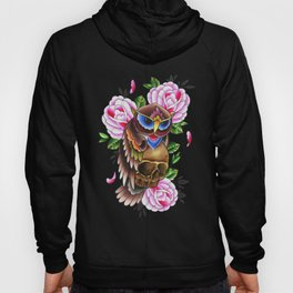 owl and skull watercolor Hoody