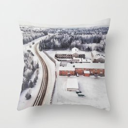Winter view from the sky Throw Pillow