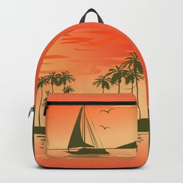 Tropical Sunset over the Sea Backpack