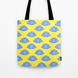 Lotus Pattern Yellow Tote Bag