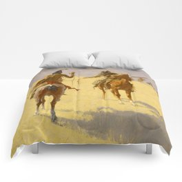 """Frederic Remington Western Art """"The Parley"""" Comforters"""