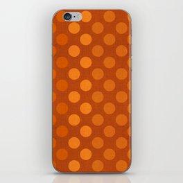 """""""Orange Burlap Texture & Polka Dots"""" iPhone Skin"""