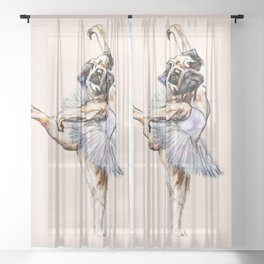 Pug Ballerina in Dog Ballet | Swan Lake  Sheer Curtain