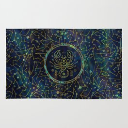 Scorpio Zodiac Gold Abalone on Constellation Rug