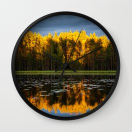 Yellow Pine Trees Forest With Reflective Pond Wall Clock