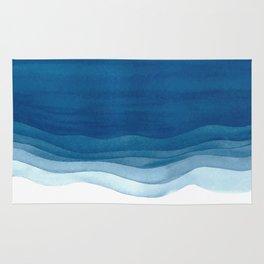 Watercolor blue waves Rug