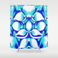 seashell Shower Curtains featuring Pattern Seashell by Christa Bethune Smith